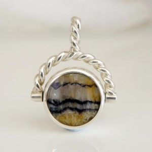 Shop Jet Pendants! Blue John & Whitby Jet Double Sided Swivel Pendant – Handmade – Sterling Silver   Natural genuine Jet pendants. Buy crystal jewelry, handmade handcrafted artisan jewelry for women.  Unique handmade gift ideas. #jewelry #beadedpendants #beadedjewelry #gift #shopping #handmadejewelry #fashion #style #product #pendants #affiliate #ad