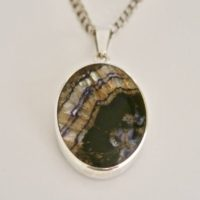 Blue John Pendant – Whitby Jet Pendant – Sterling Silver – Handmade Silver Pendant Set With Blue John And Jet | Natural genuine Gemstone jewelry. Buy crystal jewelry, handmade handcrafted artisan jewelry for women.  Unique handmade gift ideas. #jewelry #beadedjewelry #beadedjewelry #gift #shopping #handmadejewelry #fashion #style #product #jewelry #affiliate #ad