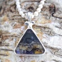 Blue John Pendant – Whitby Jet Pendant – Sterling Silver – Handmade – Silver Pendant | Natural genuine Gemstone jewelry. Buy crystal jewelry, handmade handcrafted artisan jewelry for women.  Unique handmade gift ideas. #jewelry #beadedjewelry #beadedjewelry #gift #shopping #handmadejewelry #fashion #style #product #jewelry #affiliate #ad