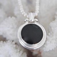 Whitby Jet Pendant – Ammonite Fossil Pendant – Double Sided – Handmade – Sterling Silver | Natural genuine Gemstone jewelry. Buy crystal jewelry, handmade handcrafted artisan jewelry for women.  Unique handmade gift ideas. #jewelry #beadedjewelry #beadedjewelry #gift #shopping #handmadejewelry #fashion #style #product #jewelry #affiliate #ad