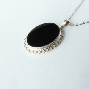 Shop Jet Pendants! Whitby Jet and Silver Frill Edged Pendant   Natural genuine Jet pendants. Buy crystal jewelry, handmade handcrafted artisan jewelry for women.  Unique handmade gift ideas. #jewelry #beadedpendants #beadedjewelry #gift #shopping #handmadejewelry #fashion #style #product #pendants #affiliate #ad