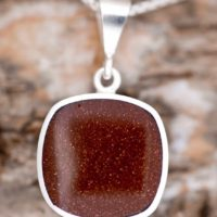 Whitby Jet Pendant – Goldstone Pendant – Double Sided- Sterling Silver – Gemstone Pendant – Cushion Pendant | Natural genuine Gemstone jewelry. Buy crystal jewelry, handmade handcrafted artisan jewelry for women.  Unique handmade gift ideas. #jewelry #beadedjewelry #beadedjewelry #gift #shopping #handmadejewelry #fashion #style #product #jewelry #affiliate #ad