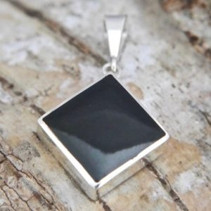Shop Jet Pendants! Whitby Jet Silver Pendant Diamond Square Design – Handmade – Sterling Silver   Natural genuine Jet pendants. Buy crystal jewelry, handmade handcrafted artisan jewelry for women.  Unique handmade gift ideas. #jewelry #beadedpendants #beadedjewelry #gift #shopping #handmadejewelry #fashion #style #product #pendants #affiliate #ad