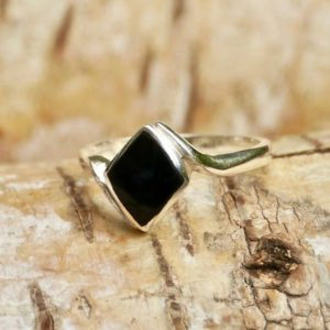 Shop Jet Rings! Whitby Jet Diamond Shape Silver Ring – Handmade – Sterling Silver | Natural genuine Jet rings, simple unique handcrafted gemstone rings. #rings #jewelry #shopping #gift #handmade #fashion #style #affiliate #ad