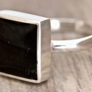 Shop Jet Rings! Whitby Jet Ring – Handmade Sterling Silver Square Ring set with Whitby Jet – Womens Ring – Stone Ring | Natural genuine Jet rings, simple unique handcrafted gemstone rings. #rings #jewelry #shopping #gift #handmade #fashion #style #affiliate #ad