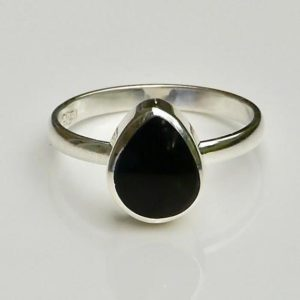 Shop Jet Rings! Whitby Jet Sterling Silver Ring Teardrop Design | Natural genuine Jet rings, simple unique handcrafted gemstone rings. #rings #jewelry #shopping #gift #handmade #fashion #style #affiliate #ad