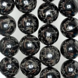 Shop Jet Beads! 18mm Black Jet With Pyrite Inclusion Gemstone Round Loose Beads 16 inch Full Strand (90186958-823)   Natural genuine round Jet beads for beading and jewelry making.  #jewelry #beads #beadedjewelry #diyjewelry #jewelrymaking #beadstore #beading #affiliate #ad