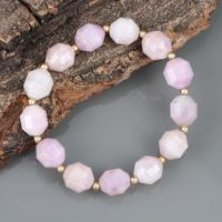Natural Kunzite Bracelet Gemstone Jewelry Beautiful Kunzite Bracelet Birthstone Jewelry Stretchable Bracelet Mother's Day Gift For Wife | Natural genuine Gemstone jewelry. Buy crystal jewelry, handmade handcrafted artisan jewelry for women.  Unique handmade gift ideas. #jewelry #beadedjewelry #beadedjewelry #gift #shopping #handmadejewelry #fashion #style #product #jewelry #affiliate #ad