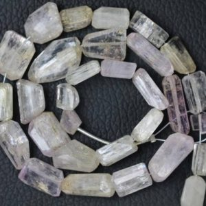 Shop Kunzite Beads! 13 inch long strand Pink Kunzite Nugget Size , 3 x 4 x 6 — 5 x 12 x 19 mm Approx | Natural genuine chip Kunzite beads for beading and jewelry making.  #jewelry #beads #beadedjewelry #diyjewelry #jewelrymaking #beadstore #beading #affiliate #ad