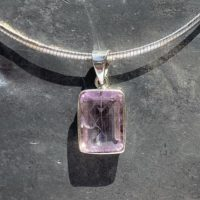 Kunzite Pendant / Kunzite Necklace / Faceted Kunzite Pendant / Rectangle Kunzite Pendant | Natural genuine Gemstone jewelry. Buy crystal jewelry, handmade handcrafted artisan jewelry for women.  Unique handmade gift ideas. #jewelry #beadedjewelry #beadedjewelry #gift #shopping #handmadejewelry #fashion #style #product #jewelry #affiliate #ad