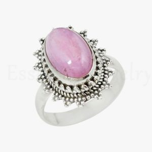 Shop Kunzite Rings! Natural Kunzite Ring, Oval Gemstone, 925 Sterling Silver, Designer Bezel, Simple Band Ring, Cabochon Gemstone, Silver Gift Ring, Gypsy Ring | Natural genuine Kunzite rings, simple unique handcrafted gemstone rings. #rings #jewelry #shopping #gift #handmade #fashion #style #affiliate #ad