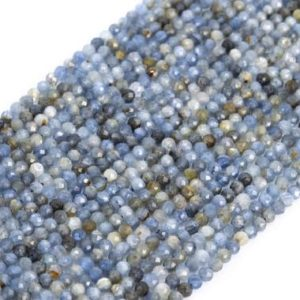 Shop Kyanite Faceted Beads! Genuine Natural Blue Gray Kyanite Loose Beads Faceted Round Shape 2mm   Natural genuine faceted Kyanite beads for beading and jewelry making.  #jewelry #beads #beadedjewelry #diyjewelry #jewelrymaking #beadstore #beading #affiliate #ad