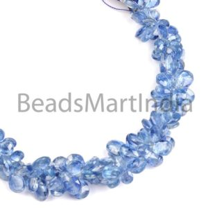 Shop Kyanite Faceted Beads! Kyanite Faceted Pears Shape Beads, Kyanite Pears Shape Beads Side Drill, Kyanite Faceted Pears, Kyanite Fancy Shape Beads | Natural genuine faceted Kyanite beads for beading and jewelry making.  #jewelry #beads #beadedjewelry #diyjewelry #jewelrymaking #beadstore #beading #affiliate #ad