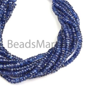 Shop Kyanite Faceted Beads! Kyanite Faceted Rondelle Shape Beads, Kyanite Rondelle Shape Beads, Kyanite Faceted Beads, Kyanite Beads | Natural genuine faceted Kyanite beads for beading and jewelry making.  #jewelry #beads #beadedjewelry #diyjewelry #jewelrymaking #beadstore #beading #affiliate #ad