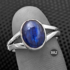 Shop Kyanite Rings! Silver Kyanite Ring, 925 Sterling Silver, Blue Gemstone Ring, Made For Her, Split Band Ring, Handmade Gemstone Jewelry, Simple Jewelry, Sale | Natural genuine Kyanite rings, simple unique handcrafted gemstone rings. #rings #jewelry #shopping #gift #handmade #fashion #style #affiliate #ad