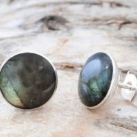 Labradorite Stud Earrings With Sterling Silver – Stud Earrings – Gemstone Earrings – Size Medium – Round Shape. | Natural genuine Gemstone jewelry. Buy crystal jewelry, handmade handcrafted artisan jewelry for women.  Unique handmade gift ideas. #jewelry #beadedjewelry #beadedjewelry #gift #shopping #handmadejewelry #fashion #style #product #jewelry #affiliate #ad