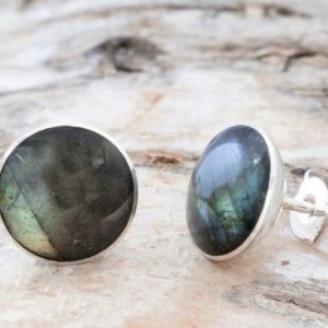 Shop Labradorite Earrings! Labradorite stud earrings with sterling silver – Stud Earrings – Gemstone Earrings – Size Medium – Round shape. | Natural genuine Labradorite earrings. Buy crystal jewelry, handmade handcrafted artisan jewelry for women.  Unique handmade gift ideas. #jewelry #beadedearrings #beadedjewelry #gift #shopping #handmadejewelry #fashion #style #product #earrings #affiliate #ad