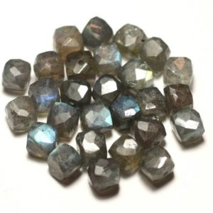 Shop Labradorite Faceted Beads! 1pc – bead stone – Labradorite Cube faceted 5-7mm hole 1 mm-8741140020160 | Natural genuine faceted Labradorite beads for beading and jewelry making.  #jewelry #beads #beadedjewelry #diyjewelry #jewelrymaking #beadstore #beading #affiliate #ad
