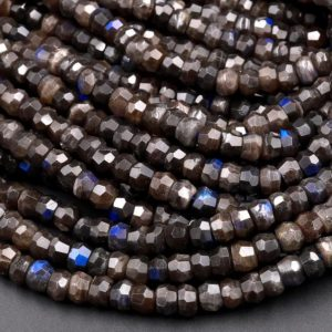 """Rare Natural Black Labradorite Faceted Rondelle Beads 6mm 8mm 10mm Blue Flashes in Deep Dark Chocolate Background 15.5"""" Strand 