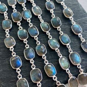 Labradorite Necklace, Blue Flash Labradorite Layering Necklace, Sterling Silver Long Statement Necklace, Elegant Blue Jewelry Gift for women | Natural genuine Gemstone necklaces. Buy crystal jewelry, handmade handcrafted artisan jewelry for women.  Unique handmade gift ideas. #jewelry #beadednecklaces #beadedjewelry #gift #shopping #handmadejewelry #fashion #style #product #necklaces #affiliate #ad
