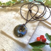 Labradorite Mans Rustic Pendant Gift For Vegan, Gemstone Donut Pendant On Cord, unisex Healing Chakra Necklace | Natural genuine Gemstone jewelry. Buy crystal jewelry, handmade handcrafted artisan jewelry for women.  Unique handmade gift ideas. #jewelry #beadedjewelry #beadedjewelry #gift #shopping #handmadejewelry #fashion #style #product #jewelry #affiliate #ad