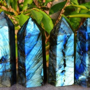 "Shop Labradorite Points & Wands! AAAA 4""~5"" Large Labradorite Crystal Tower,Natural Blue&Rainbow Labradorite Tower,Crystal Tower,Labradorite Big Tower,Approx 0.8~1 lbs. 