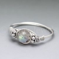 Labradorite Bali Sterling Silver Wire Wrapped Gemstone Bead Ring – Made To Order, Ships Fast! | Natural genuine Gemstone jewelry. Buy crystal jewelry, handmade handcrafted artisan jewelry for women.  Unique handmade gift ideas. #jewelry #beadedjewelry #beadedjewelry #gift #shopping #handmadejewelry #fashion #style #product #jewelry #affiliate #ad