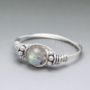 Shop Labradorite Rings! Labradorite Bali Sterling Silver Wire Wrapped Gemstone BEAD Ring – Made to Order, Ships Fast! | Natural genuine Labradorite rings, simple unique handcrafted gemstone rings. #rings #jewelry #shopping #gift #handmade #fashion #style #affiliate #ad