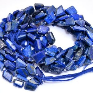 Shop Lapis Lazuli Chip & Nugget Beads! AAA+ Lapis Lazuli 11mm-14mm Faceted Nugget Beads | Royal Blue Lapis Lazuli Step Cut Tumbled Natural Semi Precious Gemstone Beads for Jewelry | Natural genuine chip Lapis Lazuli beads for beading and jewelry making.  #jewelry #beads #beadedjewelry #diyjewelry #jewelrymaking #beadstore #beading #affiliate #ad