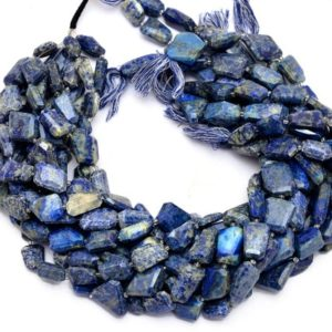 Shop Lapis Lazuli Chip & Nugget Beads! Lapis Lazuli Gemstone Faceted Nuggets Beads | Blue Lapis 15mm-20mm Step Cut Tumbled | Natural Semi Precious Gemstone Beads | 16inch Strand | Natural genuine chip Lapis Lazuli beads for beading and jewelry making.  #jewelry #beads #beadedjewelry #diyjewelry #jewelrymaking #beadstore #beading #affiliate #ad