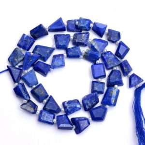 "Shop Lapis Lazuli Chip & Nugget Beads! Natural AAA+ Lapis Lazuli 9mm-11mm Faceted Nugget Beads | Blue Lapis Lazuli Tumbled Semi Precious Gemstone Beads for Jewelry | 13"" Strand 