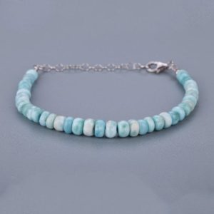 Shop Larimar Bracelets! Larimar beaded bracelet Larimar Bracelet Genuine Gemstone Sterling Silver Jewelry Sky Blue Stone Beaded Bracelet Larimar Jewelry. | Natural genuine Larimar bracelets. Buy crystal jewelry, handmade handcrafted artisan jewelry for women.  Unique handmade gift ideas. #jewelry #beadedbracelets #beadedjewelry #gift #shopping #handmadejewelry #fashion #style #product #bracelets #affiliate #ad