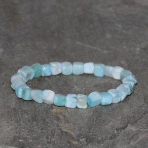Shop Larimar Bracelets! Larimar Beaded Bracelet, Handmade approximately 5mm*6mm Irregular Dominican Larimar, Gemstone Bracelet Natural Dominican Republica Larimar | Natural genuine Larimar bracelets. Buy crystal jewelry, handmade handcrafted artisan jewelry for women.  Unique handmade gift ideas. #jewelry #beadedbracelets #beadedjewelry #gift #shopping #handmadejewelry #fashion #style #product #bracelets #affiliate #ad