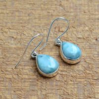 Larimar Earrings, 925 Sterling Silver Earrings, Larimar 10x14mm Pear Shape Earrings, Boho Earrings, Handmade Earrings, Silver Earrings, Gift | Natural genuine Gemstone jewelry. Buy crystal jewelry, handmade handcrafted artisan jewelry for women.  Unique handmade gift ideas. #jewelry #beadedjewelry #beadedjewelry #gift #shopping #handmadejewelry #fashion #style #product #jewelry #affiliate #ad