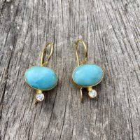 Larimar And Cubic Zirconia Earrings, Gold Plated Earrings | Natural genuine Gemstone jewelry. Buy crystal jewelry, handmade handcrafted artisan jewelry for women.  Unique handmade gift ideas. #jewelry #beadedjewelry #beadedjewelry #gift #shopping #handmadejewelry #fashion #style #product #jewelry #affiliate #ad