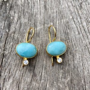 Shop Larimar Earrings! Larimar and cubic zirconia earrings, gold plated earrings | Natural genuine Larimar earrings. Buy crystal jewelry, handmade handcrafted artisan jewelry for women.  Unique handmade gift ideas. #jewelry #beadedearrings #beadedjewelry #gift #shopping #handmadejewelry #fashion #style #product #earrings #affiliate #ad
