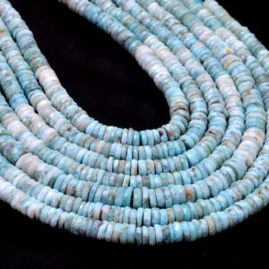 Shop Larimar Faceted Beads! Natural Larimar 7mm-8mm Heishi Faceted Beads | 13inch Full Strand | Multi Larimar Semi Precious Gemstone Loose Wheel / Tyre Rondelle Beads | Natural genuine faceted Larimar beads for beading and jewelry making.  #jewelry #beads #beadedjewelry #diyjewelry #jewelrymaking #beadstore #beading #affiliate #ad