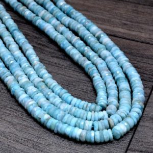 """Shop Larimar Faceted Beads! Natural Larimar Gemstone 6mm Heishi Faceted Beads 