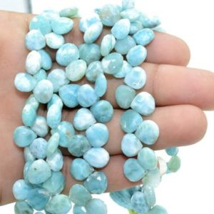 Shop Larimar Faceted Beads! Larimar Heart Shape Briolette,9 to 10 Larimar Faceted Heart Shape beads,8''Larimar strand,AAA Quality Larimar beads,jewelry making beads | Natural genuine faceted Larimar beads for beading and jewelry making.  #jewelry #beads #beadedjewelry #diyjewelry #jewelrymaking #beadstore #beading #affiliate #ad