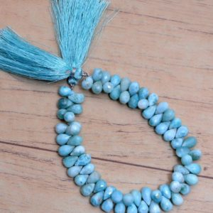Shop Larimar Bead Shapes! AAA+ Larimar 6x9mm Teardrop Beads, Gemstone Drops Briolette | 8inch Strand | Natural Dominican Larimar Semi Precious Gemstone Loose Beads | Natural genuine other-shape Larimar beads for beading and jewelry making.  #jewelry #beads #beadedjewelry #diyjewelry #jewelrymaking #beadstore #beading #affiliate #ad