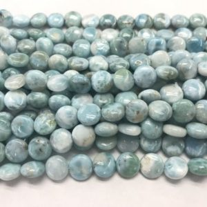 Shop Larimar Bead Shapes! Natural Larimar 10mm Flat Round Genuine Blue Grade A Loose Coin Beads 15 inch Jewelry Supply Bracelet Necklace Material Support Wholesale | Natural genuine other-shape Larimar beads for beading and jewelry making.  #jewelry #beads #beadedjewelry #diyjewelry #jewelrymaking #beadstore #beading #affiliate #ad