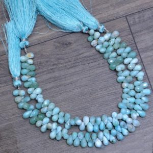 Shop Larimar Bead Shapes! Natural Larimar Teardrop Beads, Gemstone 7x5mm Drops Briolette | 8inch Strand | Rare Dominican Larimar Semi Precious Gemstone Loose Beads | Natural genuine other-shape Larimar beads for beading and jewelry making.  #jewelry #beads #beadedjewelry #diyjewelry #jewelrymaking #beadstore #beading #affiliate #ad