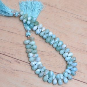 Shop Larimar Bead Shapes! Larimar Teardrop Beads, Multi Gemstone 6x8mm Drops Briolette | 8inch Strand | Natural Dominican Larimar Semi Precious Gemstone Loose Beads | Natural genuine other-shape Larimar beads for beading and jewelry making.  #jewelry #beads #beadedjewelry #diyjewelry #jewelrymaking #beadstore #beading #affiliate #ad