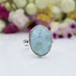 Shop Larimar Rings! Blue Larimar Stone Ring, Sterling Silver Ring, Oval Shape Ring, Simple Band Ring, Natural Gemstone , Dainty Ring, Cabochon Gemstone, Boho   Natural genuine Larimar rings, simple unique handcrafted gemstone rings. #rings #jewelry #shopping #gift #handmade #fashion #style #affiliate #ad