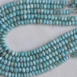 Shop Larimar Rondelle Beads! Awesome, 10 inch long strand Smooth Larimar Rondelles beads natural larimar, sky blue, jewelry, wholesale, best quality 5.5 — 7 mm approx | Natural genuine rondelle Larimar beads for beading and jewelry making.  #jewelry #beads #beadedjewelry #diyjewelry #jewelrymaking #beadstore #beading #affiliate #ad