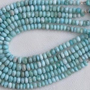 Shop Larimar Rondelle Beads! Awesome, 10 inch long strand Smooth Larimar Rondelles beads natural larimar, sky blue, jewelry, wholesale, best quality 5 — 7.5 mm approx | Natural genuine rondelle Larimar beads for beading and jewelry making.  #jewelry #beads #beadedjewelry #diyjewelry #jewelrymaking #beadstore #beading #affiliate #ad