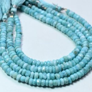 """Shop Larimar Faceted Beads! Larimar Rondelle Shape Faceted Beads 5×6.MM Approx """"Inches Natural Top Quality Wholesaler Price. 