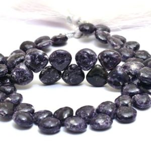 Shop Lepidolite Bead Shapes! AAA+ Lepidolite 9mm-10mm Gemstone Smooth Heart Briolette | Natural Purple Lepidolite Semi Precious Gemstone Beads for Jewelry | 8inch Strand | Natural genuine other-shape Lepidolite beads for beading and jewelry making.  #jewelry #beads #beadedjewelry #diyjewelry #jewelrymaking #beadstore #beading #affiliate #ad