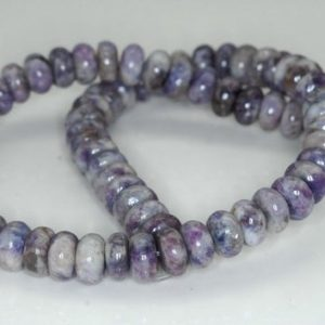 Shop Lepidolite Rondelle Beads! 10X5-10X6mm Purple White Lepidolite Gemstone Grade A Rondelle Loose Beads 16 inch Full Strand (90188003-673) | Natural genuine rondelle Lepidolite beads for beading and jewelry making.  #jewelry #beads #beadedjewelry #diyjewelry #jewelrymaking #beadstore #beading #affiliate #ad
