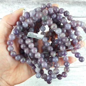 Shop Lepidolite Round Beads! Lepidolite Gemstone Beads, Reiki Infused 8mm Round Beads, Crystal Beads | Natural genuine round Lepidolite beads for beading and jewelry making.  #jewelry #beads #beadedjewelry #diyjewelry #jewelrymaking #beadstore #beading #affiliate #ad
